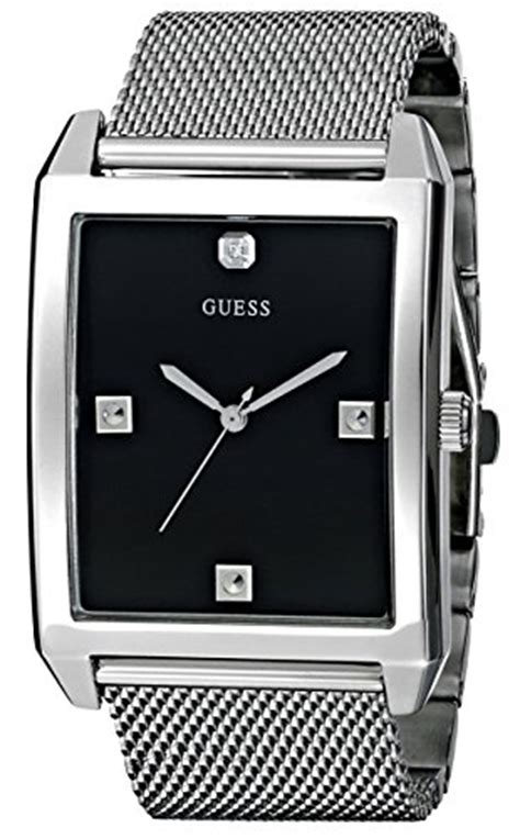 Guess Loop Black Silver guess s u0279g1 dressy silver tone with black and mesh deployment buckle buy