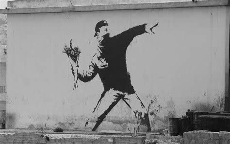 White Flowers Graffiti Sml Top 2560x1600 banksy flower thrower banksy streetart graffit flower thrower
