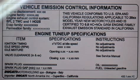Ducati Emissions Sticker by Vehicle Emission Information Sticker Ducati Ms