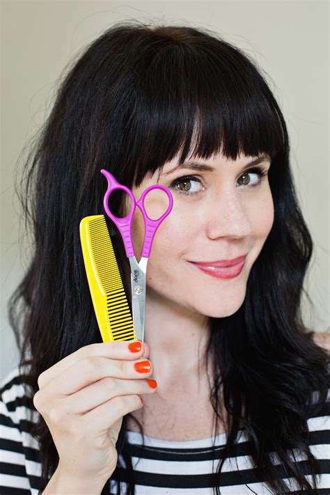 tips for cutting your own bangs at home a beautiful mess