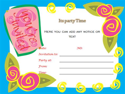 birthday party invitations microsoft word templates
