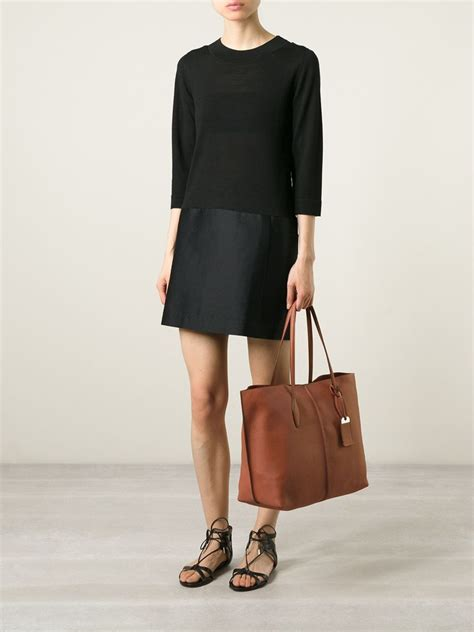 Tods Shopping Tote New Hitam lyst tod s shopping tote in brown