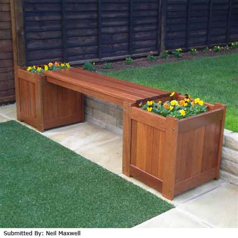 wooden bench with planters greenfingers planter box garden bench on sale fast