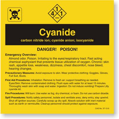 what color is cyanide cyanide ansi chemical label sku lb 1584 045