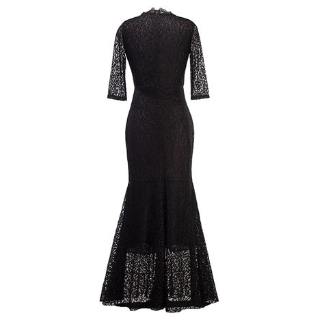 lace v neck maxi fishtail dress formal evening wedding gown ebay