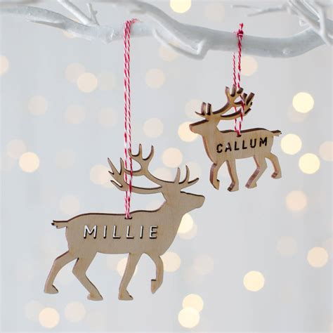 Reindeer Decoration by Personalised Wooden Reindeer Decoration By Twenty Seven