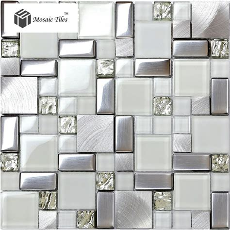 silver mosaic tiles bathroom tst glass metal tile frosted glass silver steel glitter