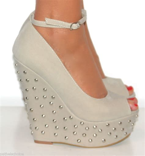 peep toe studded wedge high from pathelschoice on