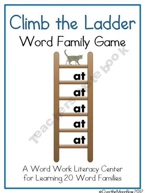 printable word ladder games climb the ladder word family game kinder pinterest