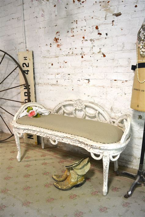 shabby chic bench painted cottage chic shabby french upholstered bench
