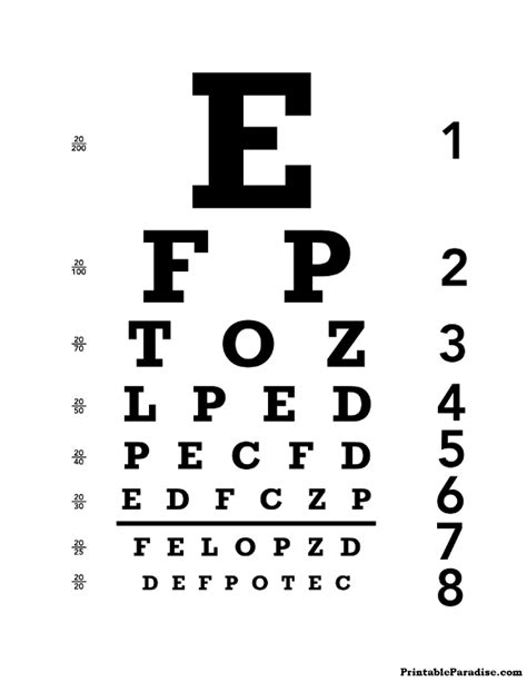 printable eye chart letter size printable eye chart print free 20 20 eyechart