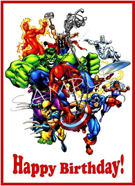Marvel Heroes Gift Card - edible cake image marvel heroes happy birthday rec ebay