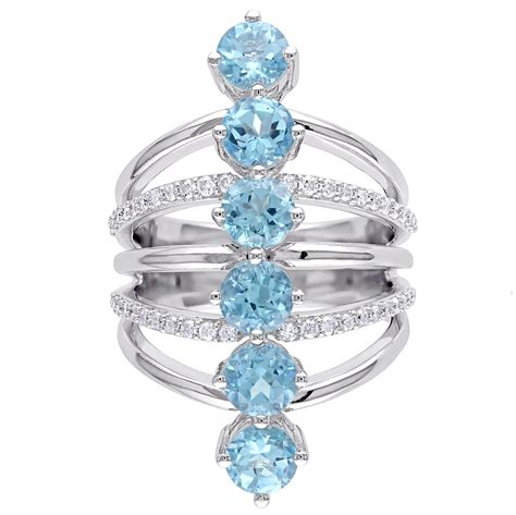 Topaz 5 14ct blue topaz fashion ring sterling silver 4 14ct