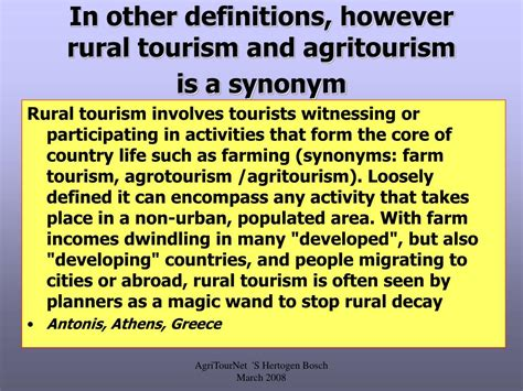 A Place Synonym Ppt Definition Of Agritourism Powerpoint Presentation Id 443227