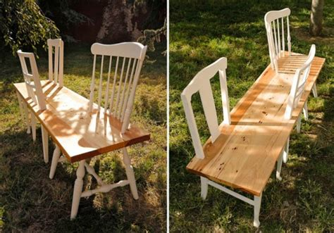 bench made from 2 chairs 31 change turns old chairs into bold retro benches