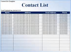 Excel Address List Template Pics For Gt Emergency Contact List Template For Employees