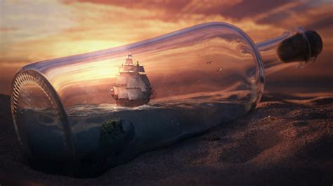 sea monster and the ship in a bottle wallpapers and images