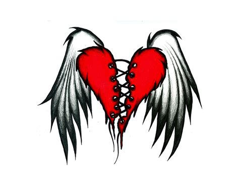 red heart tattoo designs wings images designs