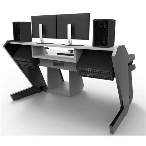 commander set white studio desk workstation