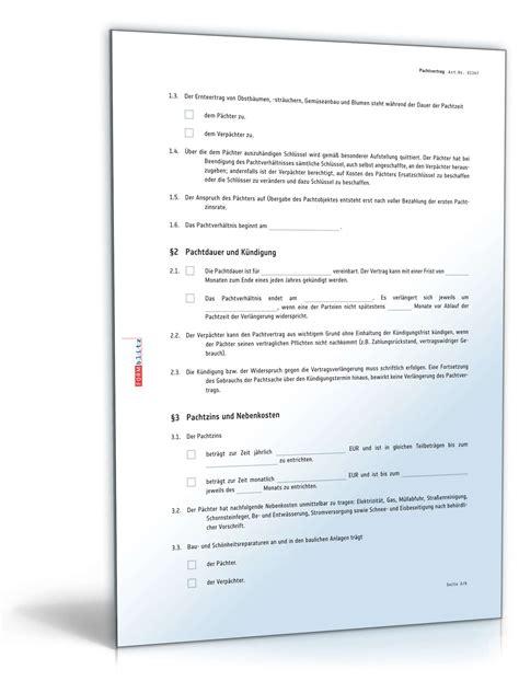 Muster Pachtvertrag Landwirtschaft Pachtvertrag Grundst 252 Ck Rechtssicheres Muster Zum