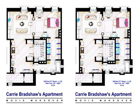 Carrie Bradshaw Apartment Floor Plan by Seinfeld Apartment Friends Apartment City Apt