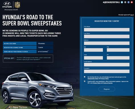 Football Hyundai Sweepstakes - hyundai hosting super bowl sweepstakes with 50 available tickets