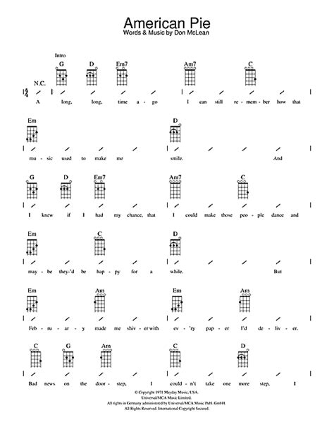 guitar tutorial american pie american pie sheet music by don mclean ukulele with