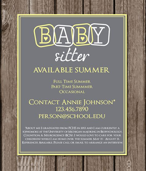 11 Babysitting Flyers Sle Templates Babysitting Flyer Template Pdf