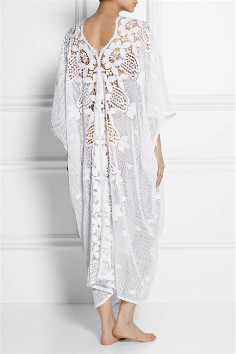 Kaftan Lace miguelina crocheted cotton lace kaftan in white lyst