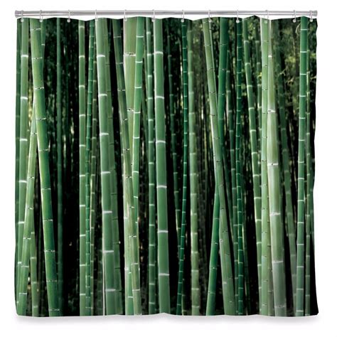 nature themed shower curtains kikkerland bamboo fabric shower curtain green trees nature