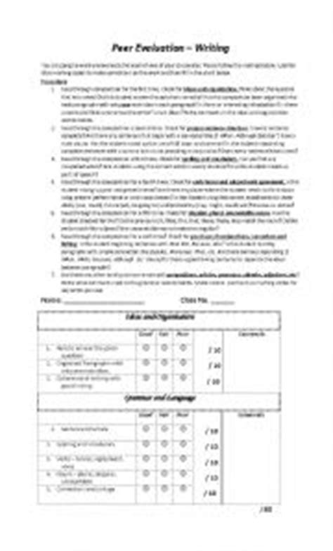 Peer Essay Evaluation Form by Worksheet Peer Evaluation Of Writing