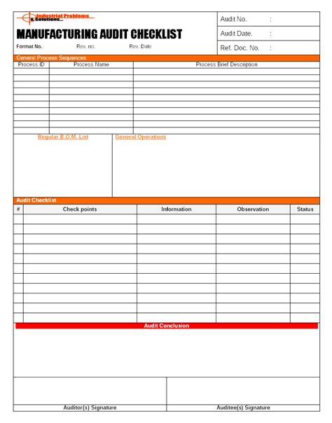 manufacturing audit checklist format