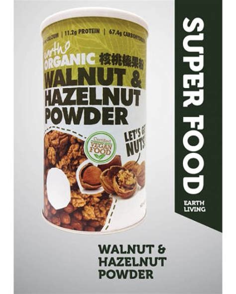 earth living organic walnut hazelnut powder 500gr