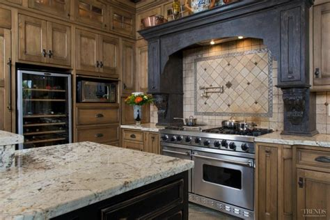 rustic italian kitchen  wood cabinets  stainless
