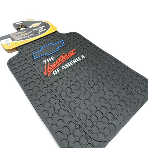 2pc chevrolet chevy heartbeat of america black rubber floor mats made in usa new ebay
