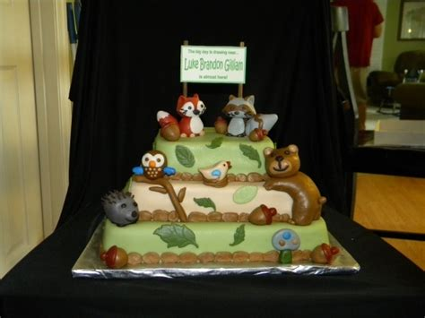 great forest friends baby shower cake woodland forest