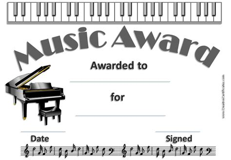 templates for music certificates free editable music certificate template free and