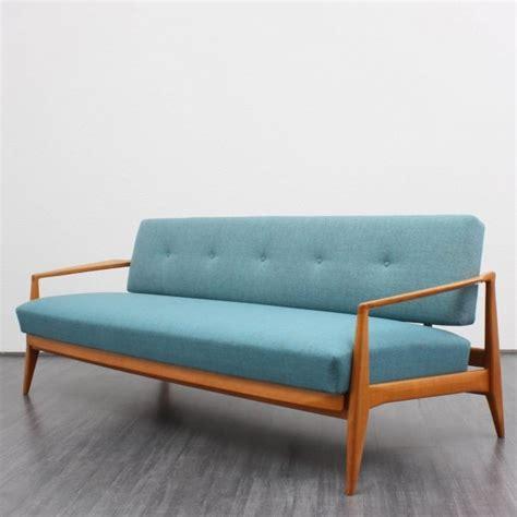50er Daybed T 252 Rkis Neu Bezogen Sofa Blue Mobilier