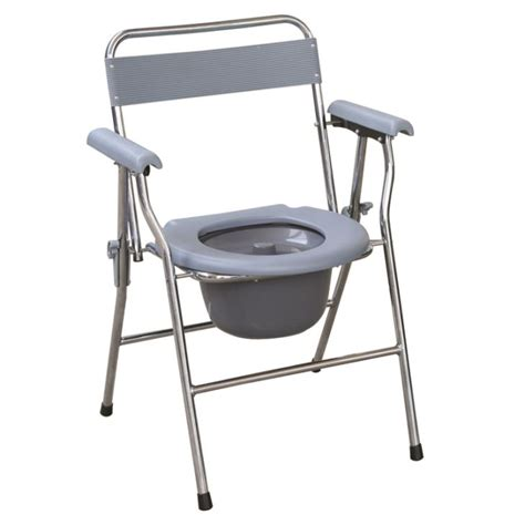 Foldable Toilet Chair by Folding Steel Commode Chair With Plastic Armrests