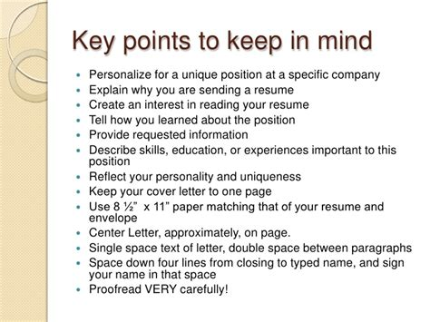 Key Points In Resume by Cover Letter Key Points Experience Resumes