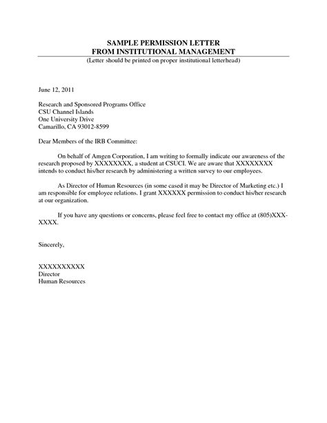 Letter Of Permission For Research Format Of A Permission Letter Best Template Collection