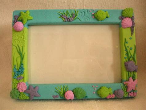 Handmade Photo Frame - handmade polymer clay covered photo frame sea mini