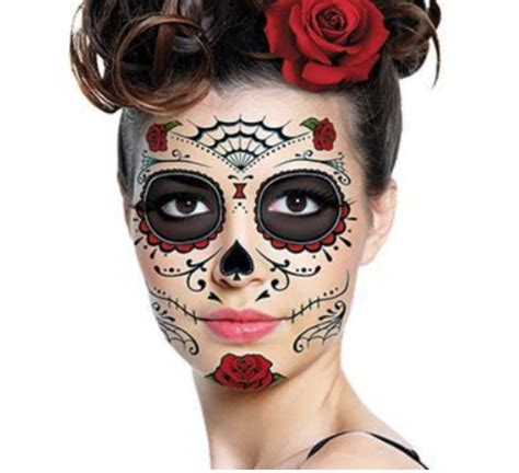 rose face tattoo roses mask temporary tattoos for