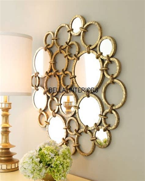 Distressed Home Decor by New Neiman Marcus Metal Gold Mirror Ring Circles Wall Art