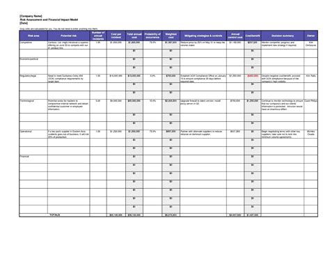 risk assessment template excel besttemplates123