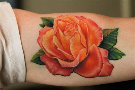 orange rose tattoo colorful tattoos