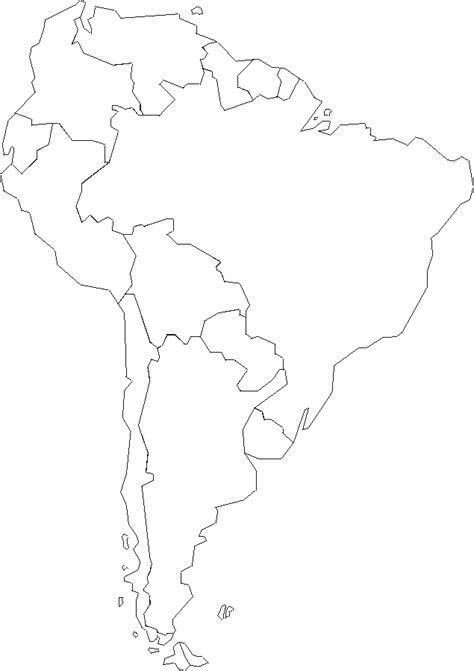 South And America Map Outline by Political Map Of South America Blank