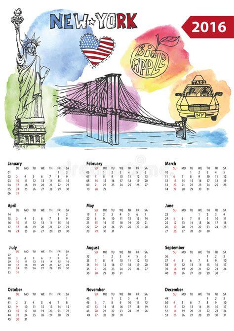 nyc design calendar 2016 calendar 2016 new york symbols stock vector image 62881210