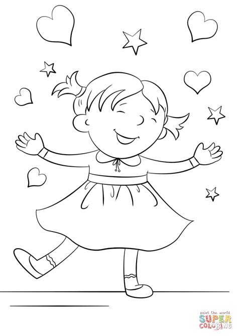 happy girl coloring page happy girl coloring page free printable coloring pages