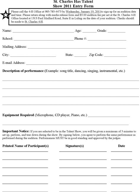 show entry form template talent show score sheet free premium